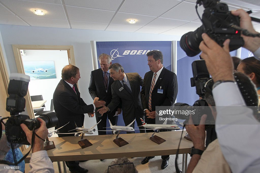 Left to right, Steven Udvar-Hazy, chief executive officer of Air Lease Corp., Jim McNerney, chief executive officer of Boeing Co., <a gi-track='captionPersonalityLinkClicked' href=/galleries/search?phrase=Ray+Conner&family=editorial&specificpeople=7660065 ng-click='$event.stopPropagation()'>Ray Conner</a>, chief executive officer of Boeing Commercial Airplanes, and John Plueger, chief operating officer of Air Lease Corp., attend a news conference on the second day of the Paris Air Show in Paris, France, on Tuesday, June 18, 2013. The 50th International Paris Air Show is the world's largest aviation and space industry show, and takes place at Le Bourget airport June 17-23. Photographer: Balint Porneczi/Bloomberg via Getty Images