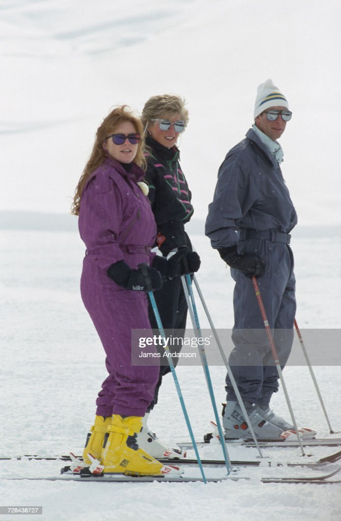 the Duchess of York, Princess Diana (1961 - 1997) and Prince Charles during a skiing holiday in Klosters, Switzerland, 9th March 1988.