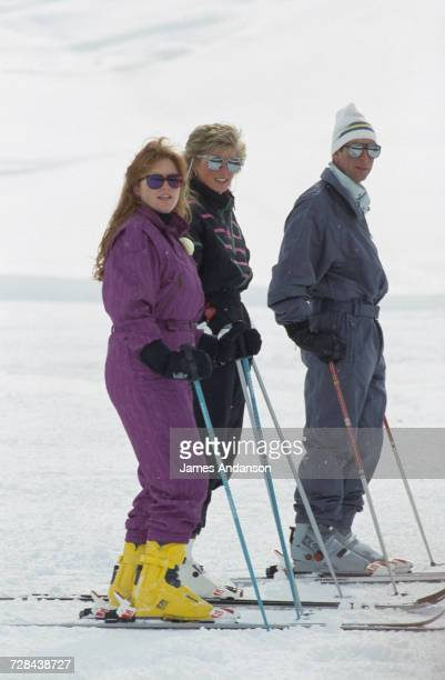 the Duchess of York Princess Diana and Prince Charles during a skiing holiday in Klosters Switzerland 9th March 1988