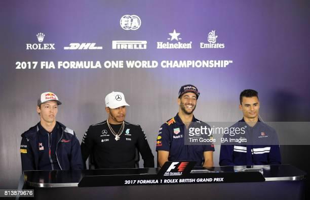 Left to right Toro Rosso' Daniil Kvyat Mercedes' Lewis Hamilton Red Bull's Daniel Ricciardo and Sauber's Pascal Wehrlein attending a press conference...