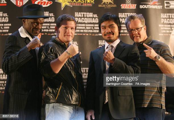 left to right Trainer Floyd Mayweather Sr Ricky Hatton Manny Pacquiao and Trainer Freddie Roach during a promotional press event at the Trafford...