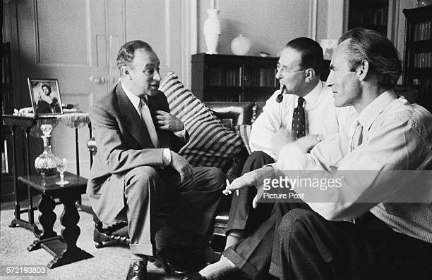 writer and broadcaster Edgar Lustgarten chairman Kenneth Adam and producer John Irwin planning their topical discussion programme 'Free Speech'...