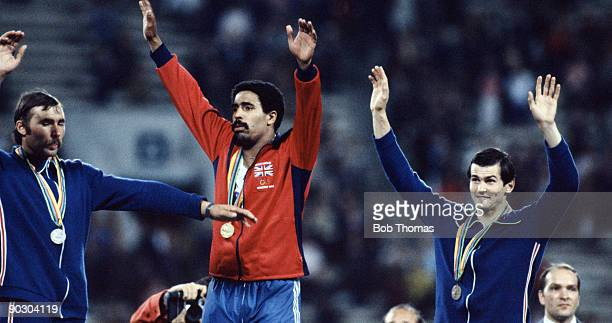 Yuri Kutsenko of the USSR Daley Thompson of Great Britain and Sergei Zhelanov of the USSR medallists in the men's decathlon at the Summer Olympic...