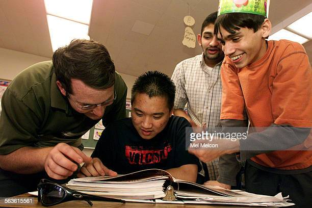 left to right–Chad Bradbury senior Darren Phan senior Maneesh Fharma junior and Kyle Fitzgerald junior members of the Santa Susana HS academic...