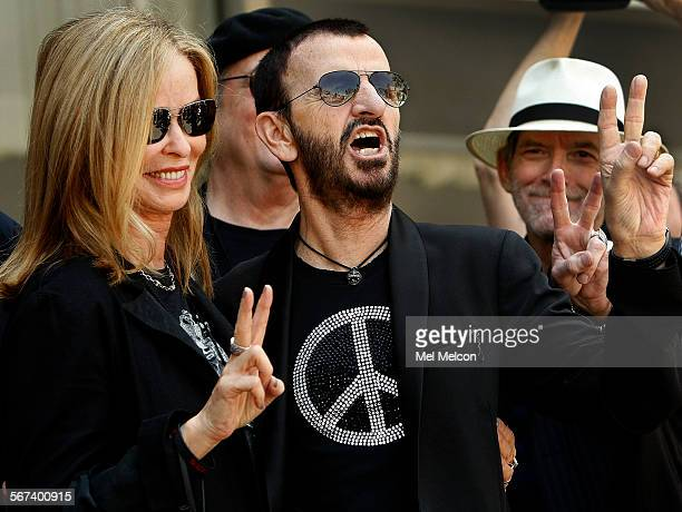 left to rightLegendary music icon Ringo Starr celebrates his 74th birthday with his wife actress Barbara Bach in front of the Capitol Records...