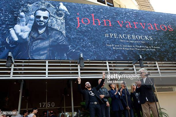 left to rightLegendary music icon Ringo Starr celebrates his 74th birthday with designer John Varvatos his sisterinlaw Majorie Bach brotherinlaw and...