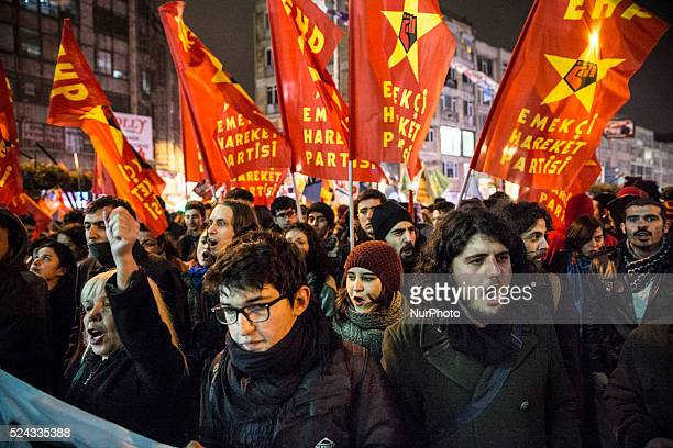 Left wing demonstrators protest government corruption on February 25 2014 following the release of tapped phone conversation allegedly between Prime...