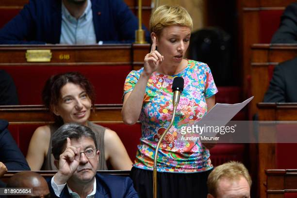 Left wing Deputy Clementine Autain asks a question to Ministers during the weekly questions to the government at Assemblee Nationale on July 19 2017...