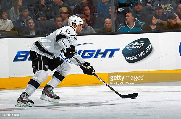 Left wing Ethan Moreau of the Los Angeles Kings skates with the puck against the San Jose Sharks at the HP Pavilion on November 7 2011 in San Jose...
