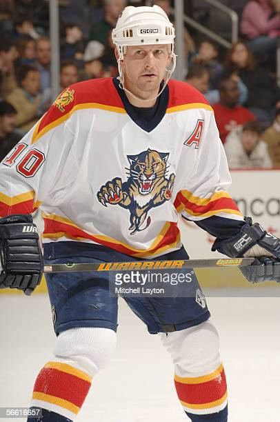 Left wing Gary Roberts of the Florida Panthers looks for a pass during the NHL game against the Washington Capitals on January 8 2006 at MCI Center...