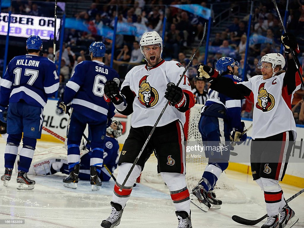 Left wing Guillaume Latendresse #73 of the Ottawa Senators celebrates his goal against the Tampa Bay Lightning during the game at the Tampa Bay Times Forum on April 9, 2013 in Tampa, Florida.