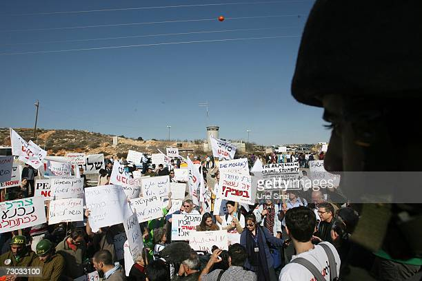 Left wing Israelis demonstrate at a check point near the West Bank city of Hebron during a demonstration January 2007 against the violence of Israeli...