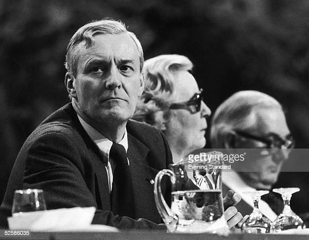 Left wing Labour MP Tony Benn at the Labour Party Conference in Brighton 1st October 1979 With him on the platform is former Prime Minister James...