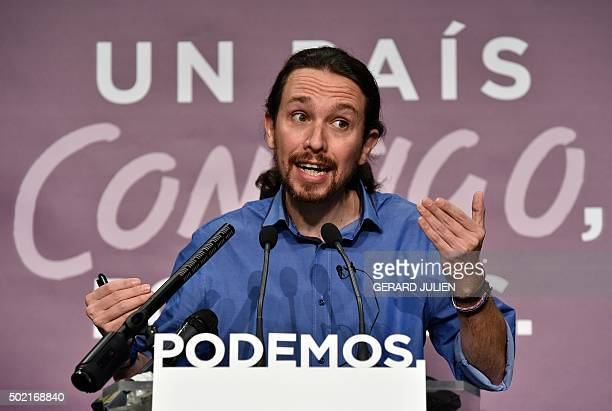 Left wing party Podemos leader and candidate of last December 20 general election Pablo Iglesias gestures as he speaks during a press conference...