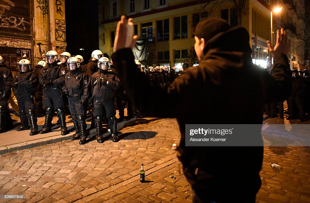 Left wing protesters clash with police forces at 'Rote Flora' after a march on May Day on May 01, 2016 in Hamburg, Germany. Tens of thousands of people across Germany participated in marches and gatherings by labor unions and in some cities left-wing and anarchist activists took to the streets under heavy oversight by police.