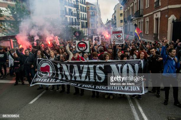 Left wing protesters during a demonstration against far right group 'Hogar Social' and their new occupied building