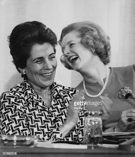 French Minister for Women's Affairs Francoise Giroud with British Conservative Party leader Margaret Thatcher at the 'Women And Power' conference...