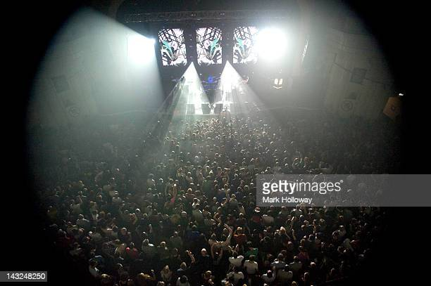 Leftfield performs on stage at Brixton Academy on April 21 2012 in London United Kingdom