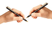 left-handed and right-handed person writing on white background isolated