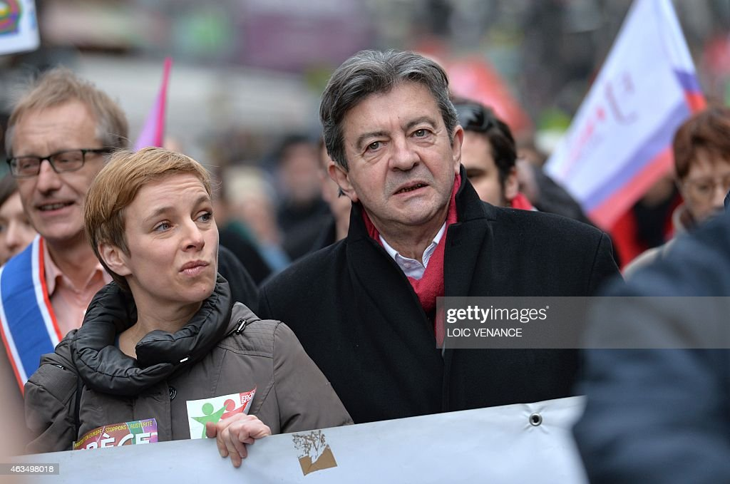 Leftist Front de Gauche (FG) leader <a gi-track='captionPersonalityLinkClicked' href=/galleries/search?phrase=Jean-Luc+Melenchon&family=editorial&specificpeople=635097 ng-click='$event.stopPropagation()'>Jean-Luc Melenchon</a> (R) and spokesperson of French Left party Ensemble (Together) Clementine Autain march during a demonstration in support of the Greek people on February 15, 2015 in Paris. At least 2,000 people marched through the streets of Paris on February 15 heeding the call from unions and far-left organisations to voice their support for Greece and its new leftist anti-austerity government. AFP PHOTO / LOIC VENANCE