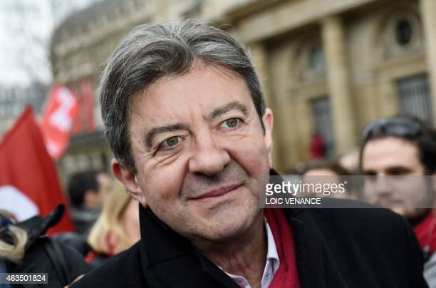 Leftist Front de Gauche leader JeanLuc Melenchon takes part in a demonstration in support of the Greek people on February 15 2015 in Paris At least...
