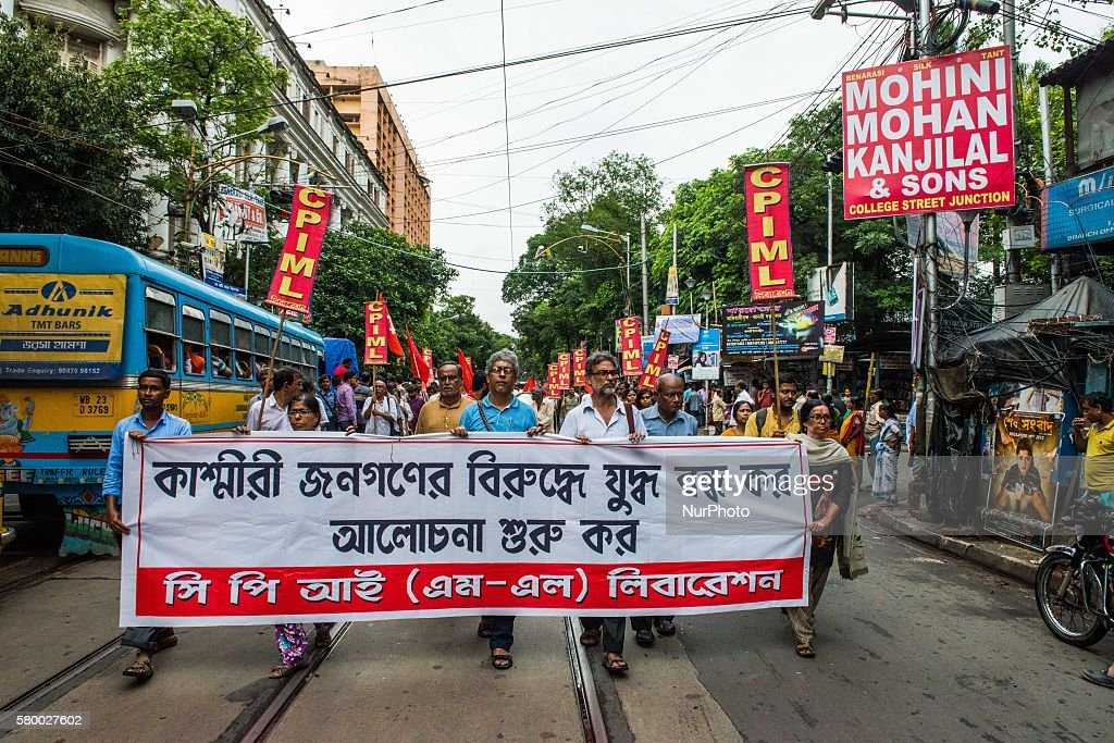 Leftist group organized a protest rally in Kolkata India on July 25 2016 Violence broke out in Kashmir Valley after encounter of Burhan Wani a Hizbul...