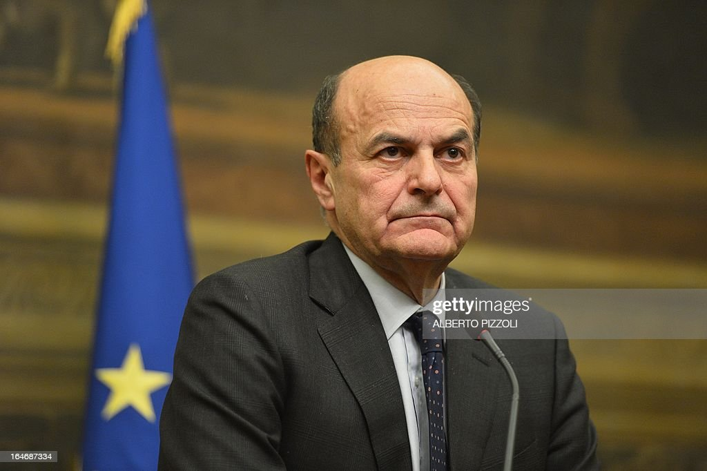 Leftist leader Pier Luigi Bersani gives a press conference following talks with centre-right leaders on March 26, 2013 at the Italian lower-house in Rome. Bersani was given the official go-ahead on March 23, 2013 to try and form a government after February elections that left the country in political gridlock.