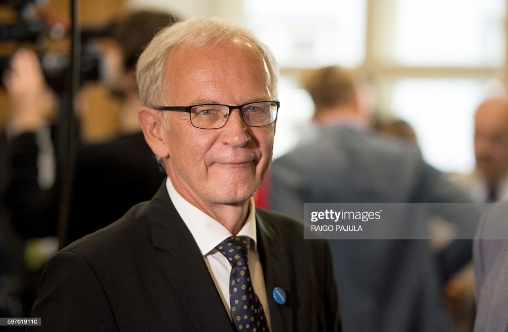 Leftist parliamentary speaker Eiki Nestor is pictured as the first round of a presidential election is under way at the parliament in Tallinn Estonia...