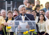 Leftist presidential candidate Andres Manuel Lopez Obrador speaks to supporters gathered in Mexico City's main square during the closing rally of the...