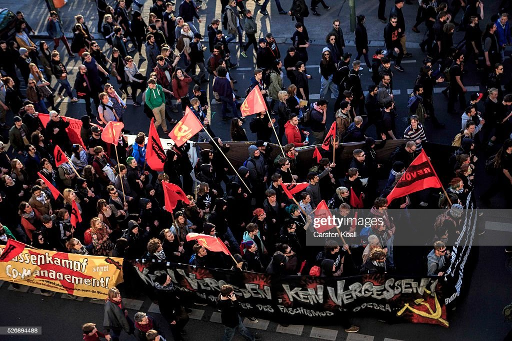 Leftist protesters march on May Day on May 1, 2016 in Berlin, Germany. Tens of thousands of people across Germany participated in marches and gatherings by labor unions and in some cities left-wing and anarchist activists took to the streets under heavy oversight by police. In Berlin far-right protesters also attempted to hold rallies during the day.