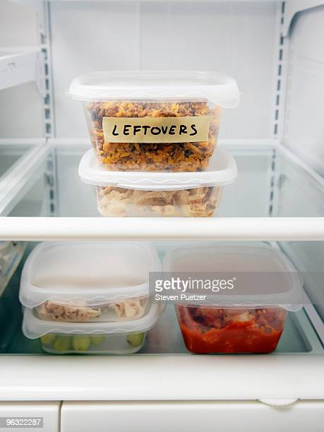 Leftover containers in refrigerator