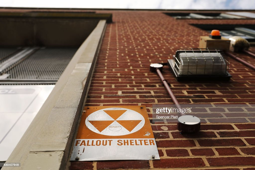 A leftover fallout shelter sign, one of hundreds in New York, is displayed on a building on August 11, 2017 in New York City. The signs signifying a protective space to sit out a nuclear attack date back to the early 1960's when America was in a Cold War with Russia. Americans are once again contemplating the possibility of a nuclear attack as America and North Korea threaten each other with war.
