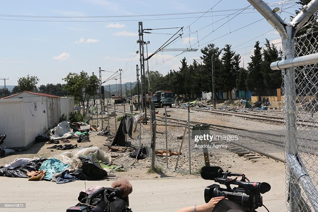 Leftovers of evacuated refugees are seen as more than 8.000 refugees evacuated to another camp in Idomeni refugee camp in Greece on May 26, 2016.