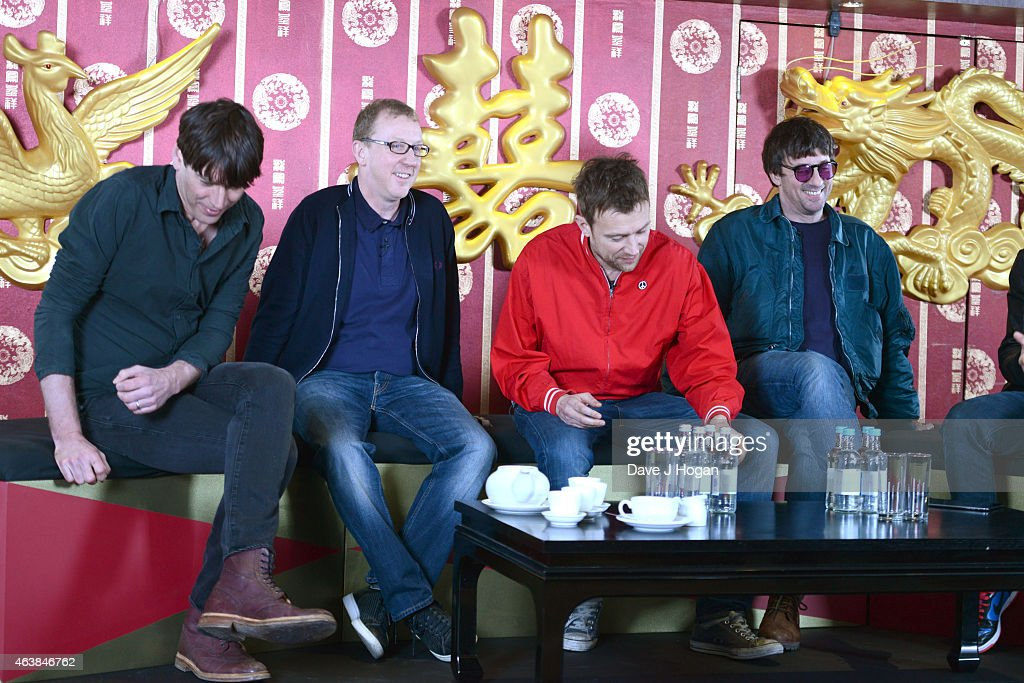 LeftRight Alex James Dave Rowntree Damon Albarn and Graham Coxon attend a photocall as Blur are announced as a headliner for British Summertime Hyde...