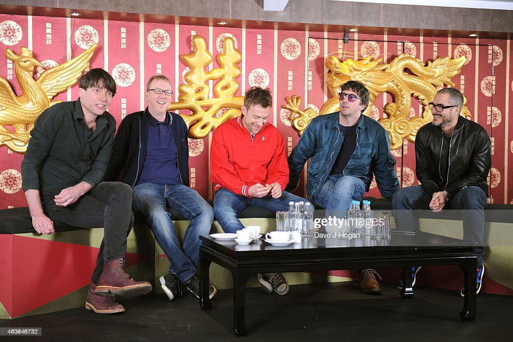LeftRight Alex James Dave Rowntree Damon Albarn Graham Coxon and Zane Lowe attend a photocall as Blur are announced as a headliner for British...