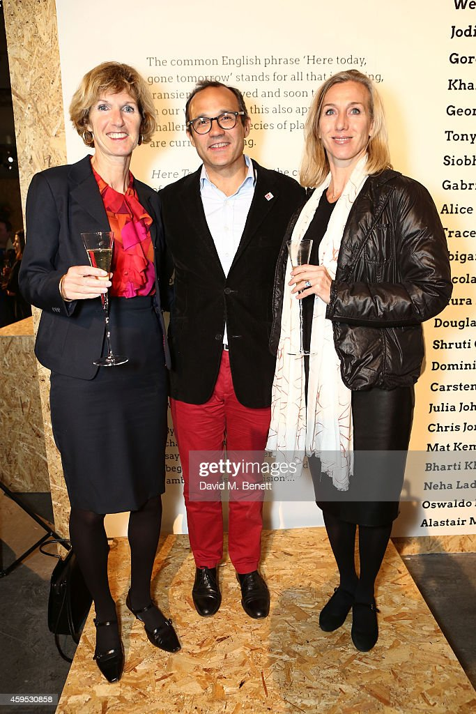 LeftRight Gillian Holmes Ricardo Tejada and Giuditta Andreaus attend the exclusive preview of the art exhibition 'Here Today' to celebrate the 50th...