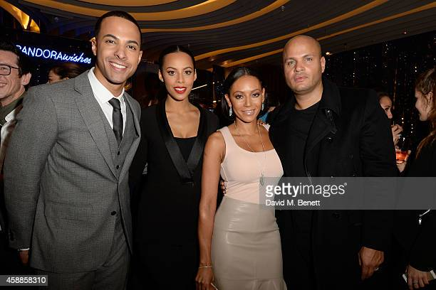LeftRight Marvin Humes Rochelle Humes Mel B and Stephen Belafonte attend the #PandoraWishes campaign launch event Pandora Marble Arch flagship store...