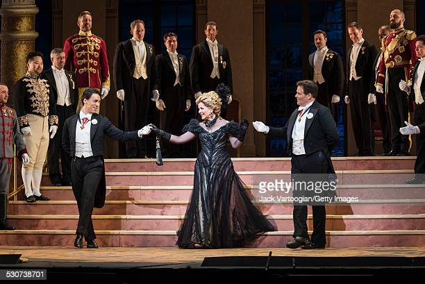 American actor Alexander Lewis American soprano Renee Fleming and American baritone Jeff Mattsey perform at the final dress rehearsal prior to the...