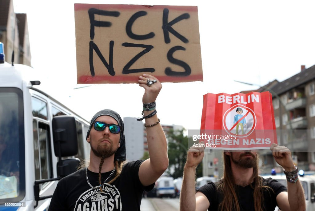 Left-wing activists protest against Neo-Nazis at an extreme right-wing demonstration commemorating the 30th anniversary of the death of Nazi leader Rudolf Hess, Adolf Hitler's deputy, who received a life sentence at the Nuremberg trials and later committed suicide in Spandau prison in 1987, on August 19, 2017 in Berlin, Germany. Far-right political demonstrations are allowed in the country but with restrictions on Nazi slogans and symbols.