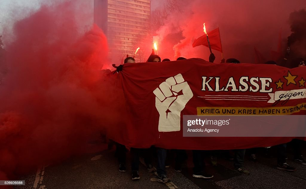 Left-wing demonstrators clash with riot police on May Day, International Workers' Day in Hamburg, Germany on May 01, 2016. Every year May Day is observed and commemorated as an official holiday all around Germany.