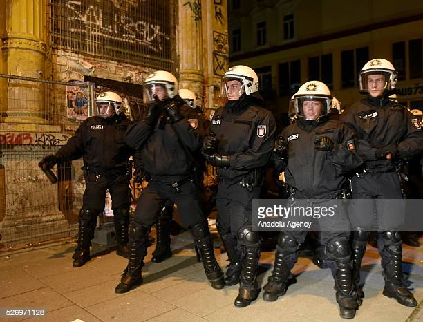 Leftwing demonstrators clash with riot police on May Day International Workers' Day in Hamburg Germany on May 01 2016 Every year May Day is observed...