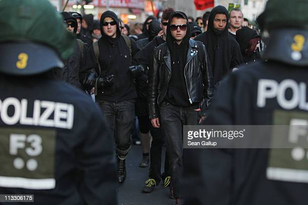 Leftwing demonstrators confront riot police during a May Day demonstration in the district of Kreuzberg on May 1 2011 in Berlin Germany Several...