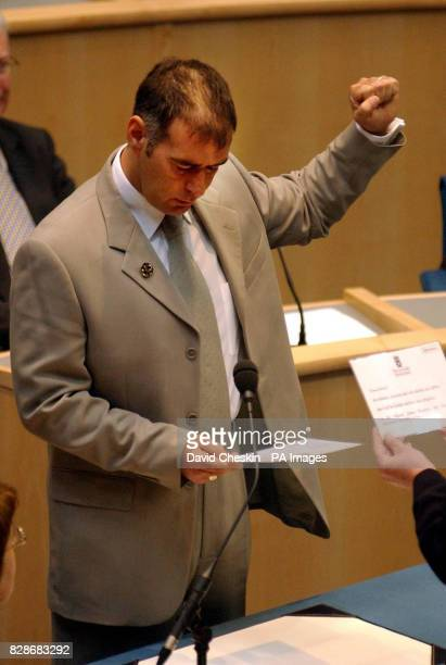 Leftwing firebrand Tommy Sheridan takes the oath of allegiance at the first meeting of the Scottish parliament following the elections Sheridan's...