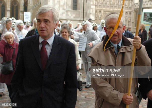 Leftwing Labour leadership challengerJohn McDonnell arrives at Westminster Central Hall for a National Pensioners Convention rally following a lobby...