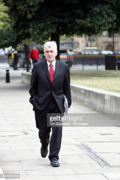 Leftwing Labour MP John McDonnell outside Parliament in London to announce that he will challenge Gordon Brown for the leadership of the Labour Party...