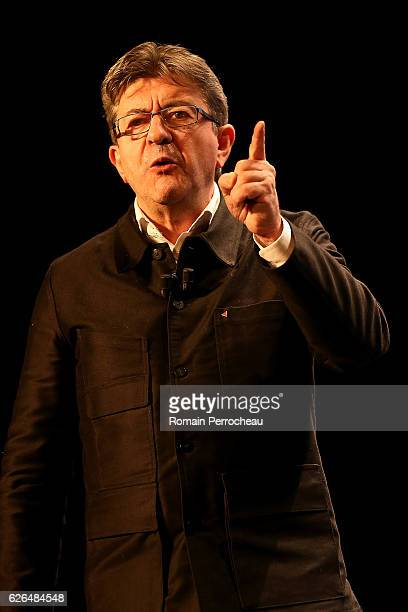 Leftwing leader JeanLuc Melenchon delivers a speech during a meeting at Femina theatre on November 29 2016 in Bordeaux France Jean Luc Melanchon has...
