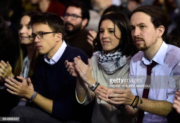 Leftwing party Podemos leader Pablo Iglesias Podemos member Irene Montero and Podemos' spokesman Inigo Errejon during the closing of a decisive...