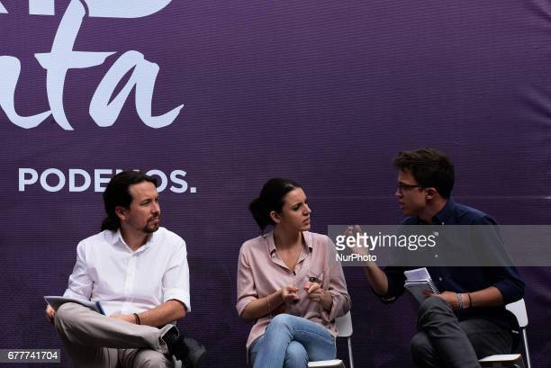 Leftwing party Podemos leaders Pablo Iglesias Irene Montero and Iñigo Errejón take part a public act to promote a vote of noconfidence against the...
