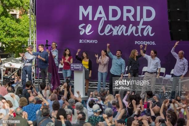 Leftwing party Podemos leaders Pablo Iglesias Irene Montero Iñigo Errejón take part a public act 'Madrid se levanta' to promote a vote of...