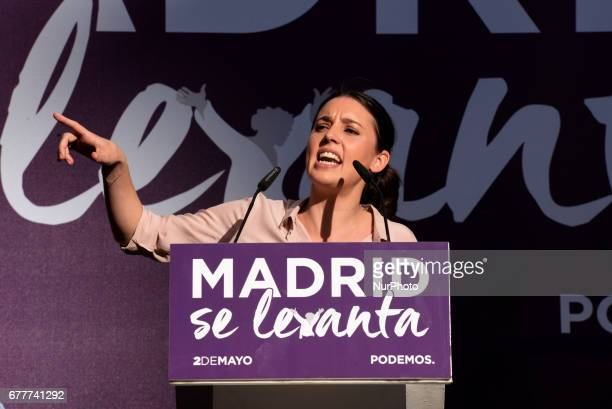 Leftwing party Podemos spokeswoman in the Congress of Deputies Irene Montero takes part a public act to promote a vote of noconfidence against the...